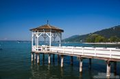 Travel photography:Pier at the lake shore in Bregenz , Austria