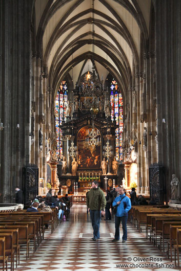 Main altar inside Stephansdom cathedral