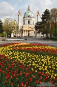 Travel photography:The Karlskirche with gardens, Austria