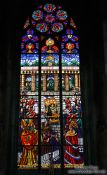 Travel photography:Pained flass windows inside Vienna´s  Votivkirche, Austria