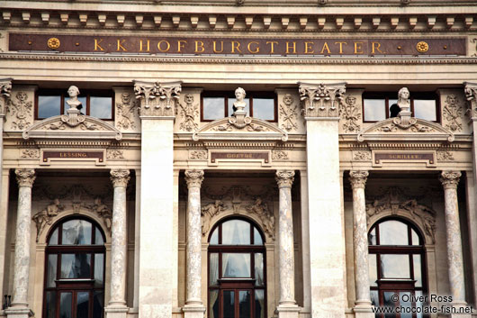 Facade close-up of Vienna´s  Burgtheater showing Goethe, Schiller and Lessing