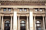 Travel photography:Facade close-up of Vienna´s  Burgtheater showing Goethe, Schiller and Lessing, Austria
