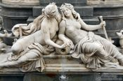 Travel photography:Detail on the Pallas Athene fountain outside the parliament building in Vienna, Austria