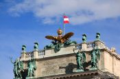 Travel photography:Imperial eagle and crown above the Neue Burg in Vienna´s Hofburg neue Burg eagle  , Austria