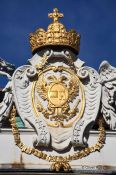 Travel photography:Vienna Hofburg crown and shield roof detail, Austria