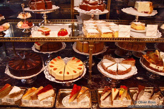 Cakes on display inside the Demel café house in Vienna