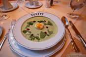 Travel photography:Soup with egg at Vienna´s Rauchfangkehrer restaurant, Austria