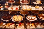 Travel photography:Cakes on display inside the Demel café house in Vienna, Austria
