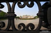 Travel photography:Belvedere palace viewed through cast iron gate, Austria