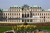 Travel photography:Belvedere palace with gardens and lake, Austria