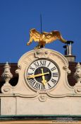 Travel photography:Schönbrunn palace clock with golden goose, Austria