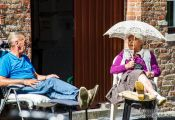 Travel photography:Local residents enjoy a summer day in Bruges, Belgium