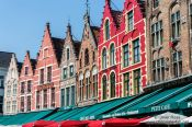Travel photography:Houses on the main (market) square in Bruges, Belgium