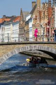 Travel photography:Bridge across canal in Bruges, Belgium