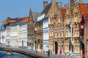 Travel photography:Houses along a canal in Bruges, Belgium