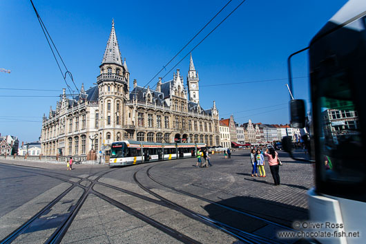 Ghent Old Post Office with tram