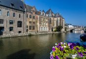 Travel photography:Ghent houses along canal, Belgium