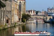Travel photography:Ghent tourist boat in canal, Belgium