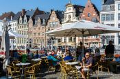 Travel photography:Street café at  Graselei canal in Ghent, Belgium