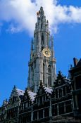 Travel photography:Antwerp cathedral with houses, Belgium