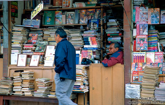 Book seller and phone booth in La Paz