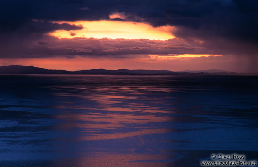 Sunset over Lake Titikaka (Titicaca)