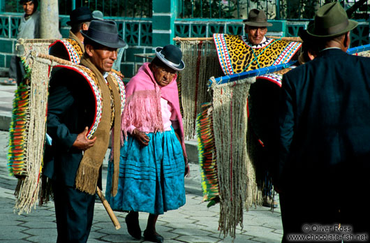 Village elders dressed for the annual festival, Sorata