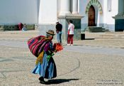 Travel photography:Woman at Copacabana church, Bolivia