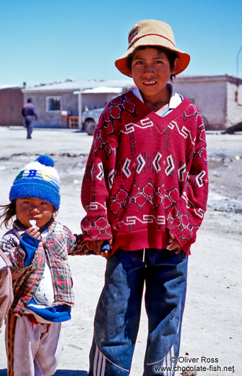 Kids in the Uyuni desert