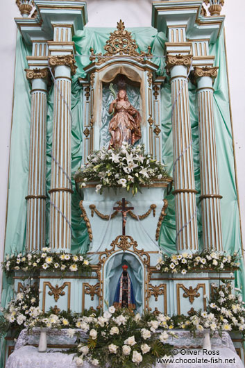 Valença church altar with black Madonna