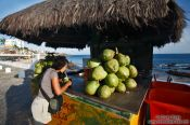 Travel photography:Drinking a refreshing coconut in Salvador de Bahia, Brazil