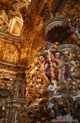 Travel photography:Pulpit inside the golden Igreja de São Francisco in Salvador, Brazil