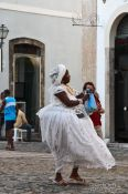 Travel photography:Woman wearing a typical Bahia dress in Salvador, Brazil