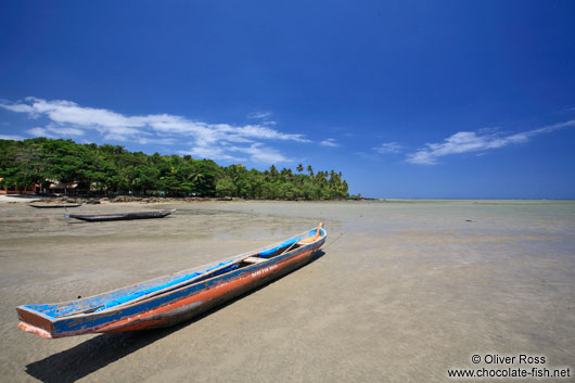 Wooden boat on Boipeba Island beach