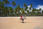 Travel photography:Boy riding a donkey on a Boipeba Island beach, Brazil