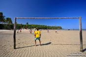 Travel photography:Low tide football on a beach on Boipeba Island, Brazil