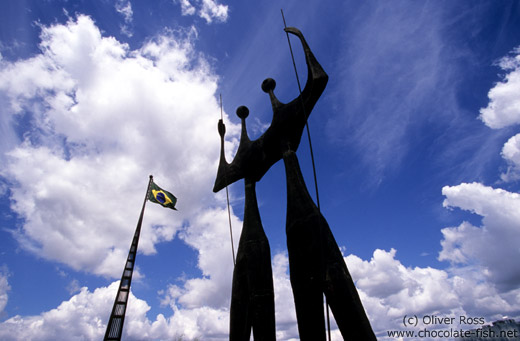 Os Candangos monument on the Praça dos Três Poderes (Square of the three powers) in Brasilia, by artist Bruno Gio