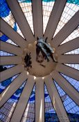 Travel photography:Roof of the Catedral Metropolitana in Brasilia, by architect Oscar Niemeyer, Brazil