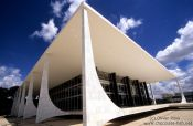 Travel photography:Building of the Supreme Court in Brasilia by architects Oscar Niemeyer and Lúcio Costa, Brazil