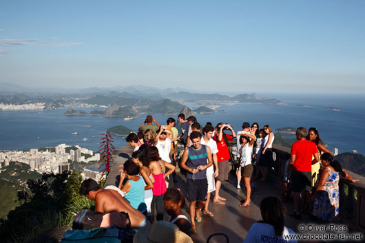 Tourists enjoying the view from the Corcovado in Rio de Janeiro
