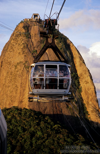 View of a gondola coming from the Pão de Açúcar (Sugar Loaf) in Rio
