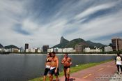 Travel photography:Joggers at Botafogo bay in Rio, Brazil