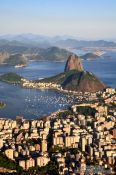 Travel photography:Panoramic view of the Sugar Loaf (Pão de Açúcar) in Rio at dusk, Brazil