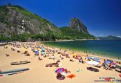 Travel photography:Praia Vermelha in Rio with the Sugar Loaf (Pão de Açúcar) in the background, Brazil