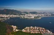 Travel photography:Panoramic view of Rio´s Botafogo, Flamengo and Urca districts from the Sugar Loaf (Pão de Açúcar), Brazil