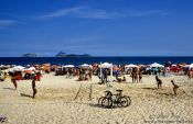 Travel photography:Ipanema beach in Rio with Cagarras Islands in the background, Brazil