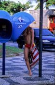 "Travel photography:A ""big ear"" (orelhão) Brazilian phone booth in Rio near Ipanema beach, Brazil"