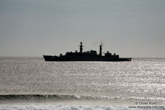 Military ship off the Arraial-do-Cabo coast