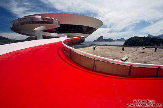 Museum of Contemporary Art in Niterói with Rio`s sugar loaf in the background