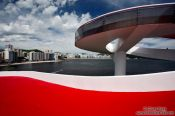 Travel photography:Museum of Contemporary Art in Niteroi with Niterói bay, Brazil